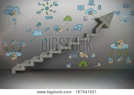 Digital composite image of gray steps moving up over white background