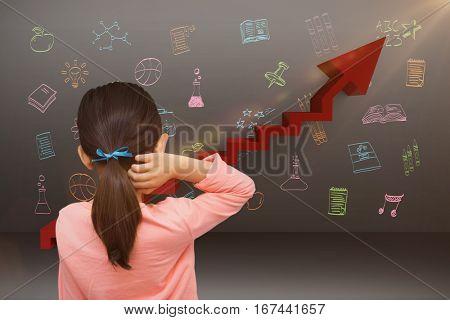 Pupil against digital composite image of red steps moving up