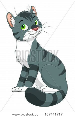 Funny cartoon tabby cat on the white background.