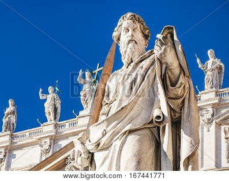 Sculpture Of Apostle Paul Near St Peter Basilica