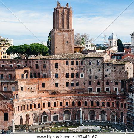 Ancient Trajan's Market In Roman Forum In Rome