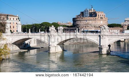 View Of Bridge And Castle Of Holy Angel In Rome