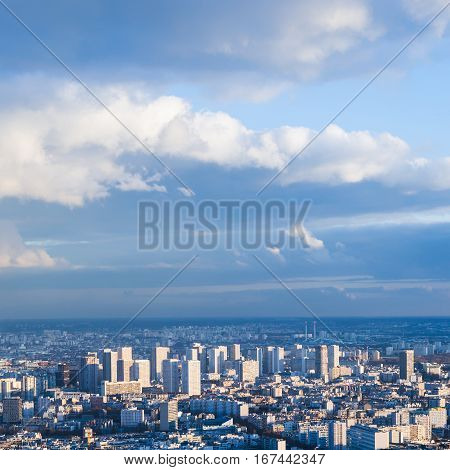 Blue Sky With Clouds Over Modern Paris City