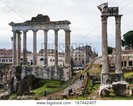 Temple Of Saturn In Roman Forum In Rome