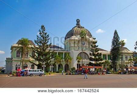 MAPUTO, MOZAMBIQUE - APRIL 29: Main railway statiion and bus terminal of Maputo, Mozambique on April 29, 2012. The station is transport hub for the country and historical landmark of colonial period