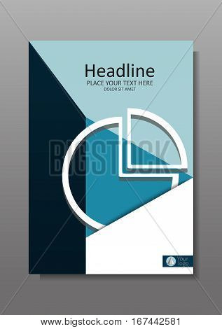 Financial Cover design A4 with pie chart. Business Annual report with geometrical figures. Good for business academic journals and magazines. Vector Illustration.