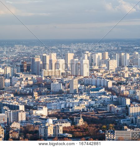 Above View Of Living District In Paris City