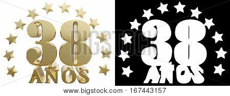 Golden digit thirty eight and the word of the year decorated with stars. Translated from the Spanish. 3D illustration