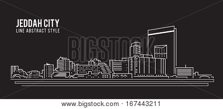 Cityscape Building Line art Vector Illustration design - Jeddah city