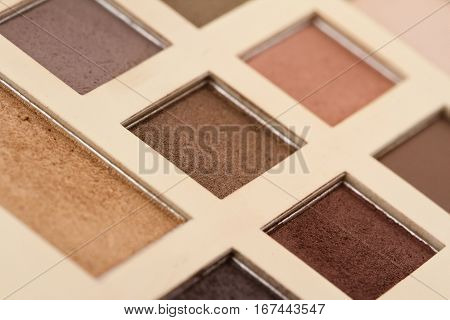 perspective view of makeup kit with vintage colors and nuances