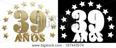 Golden digit thirty nine and the word of the year decorated with stars. Translated from the Spanish. 3D illustration