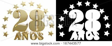Golden digit twenty eight and the word of the year decorated with stars. Translated from the Spanish. 3D illustration