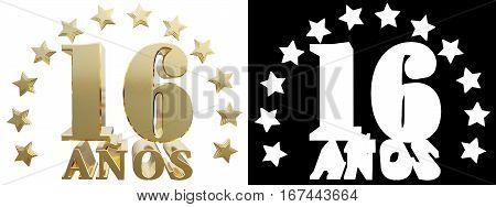 Golden digit sixteen and the word of the year decorated with stars. Translated from the Spanish. 3D illustration