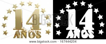 Golden digit fourteen and the word of the year decorated with stars. Translated from the Spanish. 3D illustration