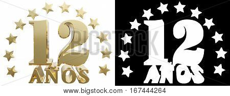 Golden digit twelve and the word of the year decorated with stars. Translated from the Spanish. 3D illustration
