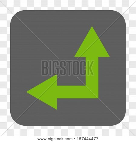 Bifurcation Arrow Left Up interface toolbar button. Vector icon style is a flat symbol on a rounded square button light green and gray colors chess transparent background.