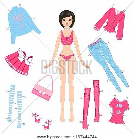 Paper girl doll with set of clothes on a white background