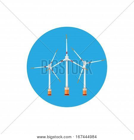Wind Turbines Icon ,Colorful Round Icon Horizontal Axis Wind Turbines, Offshore Wind Farm