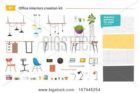 Office interiors creation kit of different furniture, accessories, plants and seamless patterns for walls. Create your own design of workplace. Set of vector elements.