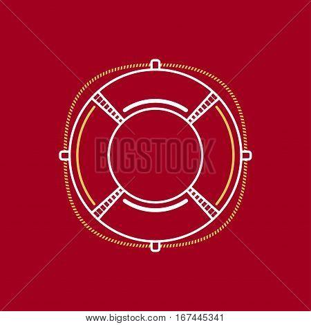 Lifebuoy, Marine Emblem with Lifebelt ,Line Style Design, Logo Design Element