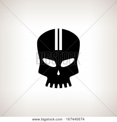 Sport Moto Speed Skull ,Silhouette Skull on a Light Background Isolated, Death's-head ,Black and White Illustration