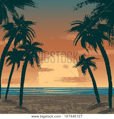 Illustration of sunset at Venice beach, Los Angeles, USA. Pacific ocean, sand beach and palms