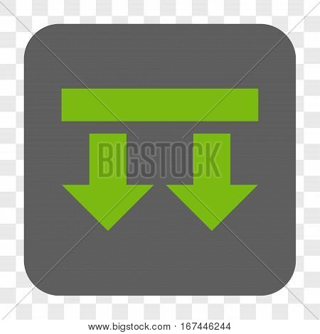 Bring Down interface toolbar button. Vector icon style is a flat symbol inside a rounded square button light green and gray colors chess transparent background.