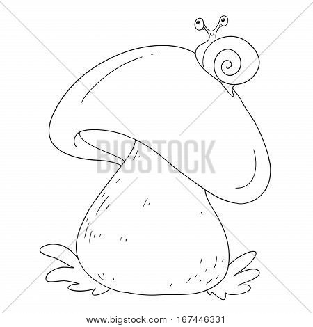 Forest mushrooms. Edible mushroom white. Coloring book vector isolated on white background.