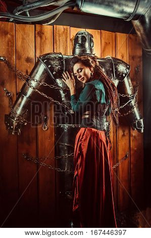 A Beautiful Woman Embracing Male Robot With Love.