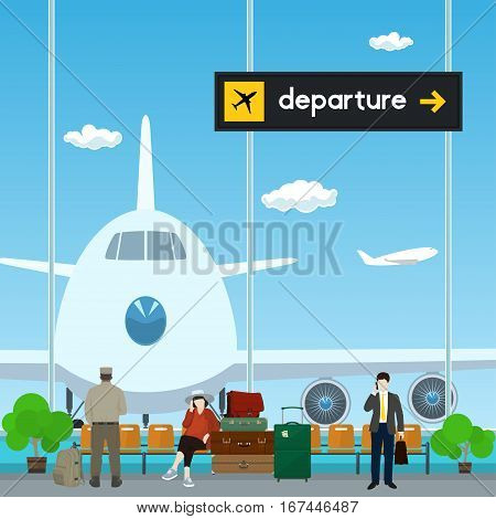 Airport, a Waiting Room with People, View on Airplane through the Window from a Waiting Room, Scoreboard Departures from Airport ,Travel Concept, Flat Design