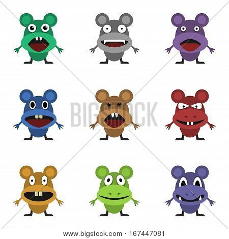 Cute monster set for animation and comics. Humor comic angry mouse collection