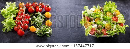 Bowl Of  Salad With Vegetables With Ingredients For Cooking