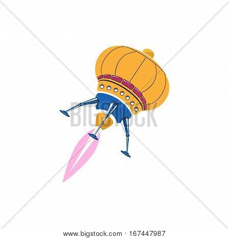 Rocket Ufo Isolated on White Background, Illustration