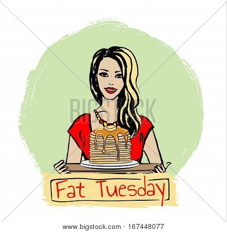 Hand-drawn illustration of woman with pancakes for Fat Tuesday