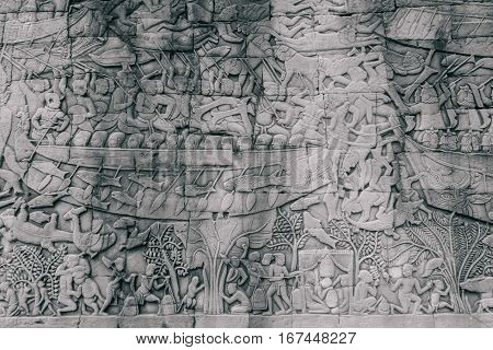 Ancient Khmer bas-relief at Bayon temple in Angkor Thom complex, Siem Reap, Cambodia