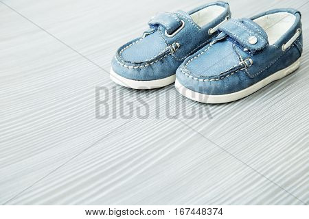 Children's shoes. Moccasins. Baby  treading shoes. Leather