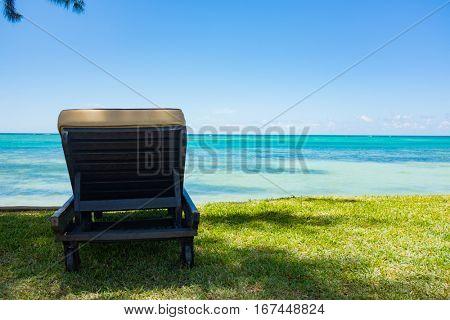 empty deckchairs on the beach . Mauritius island