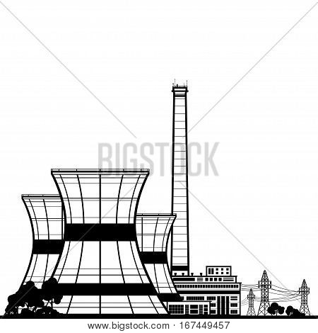 Silhouette Nuclear Power Plant , Thermal Power Station, Nuclear Reactor and Power Lines, Black and White Illustration