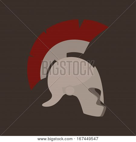 Antiques Roman or Greek Helmet Isolated , Helmet with a Red Crest of Feathers or Horsehair with Slits for the Eyes and Mouth