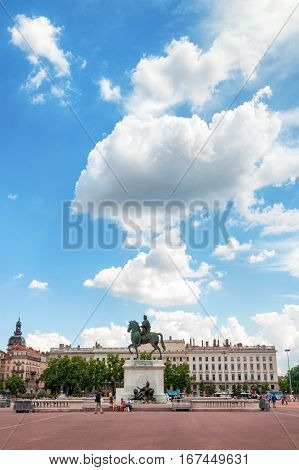 LYON, FRANCE - MAY 19: The Bellecour square. Statue of Louis XIV. Center of the city.