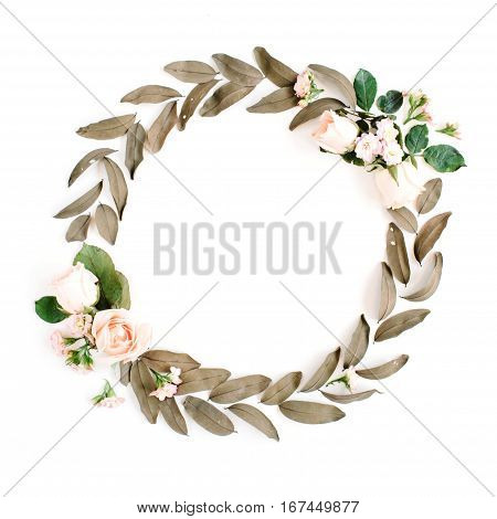 Round frame wreath with roses and dried leaves isolated on white background. Flat lay top view