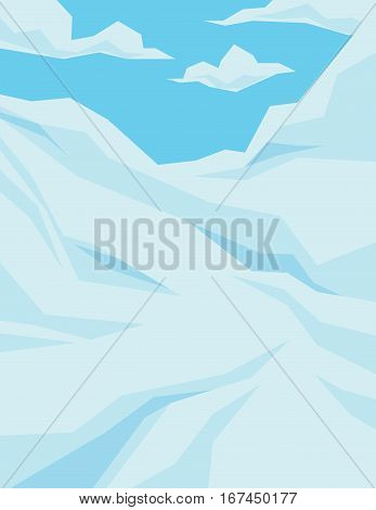 Winter scene with downhill slope, blue sky and clouds. Vector illustration of mountains landscape in faceted flat style. Background for your artworks, design and prints.