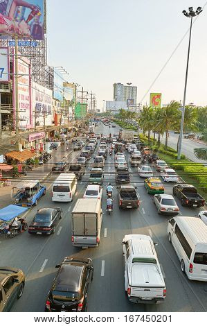 PATTAYA, THAILAND - CIRCA FEBRUARY, 2016: traffic congestion in Pattaya. Pattaya is a resort city in Thailand.