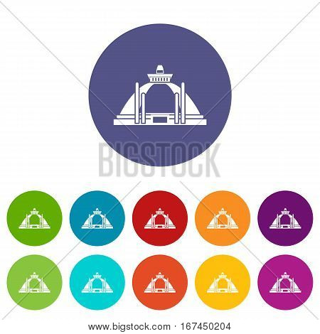 Polonnaruwa, ancient stupa set icons in different colors isolated on white background