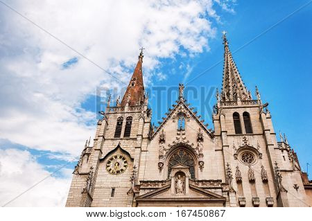 Lyon, Rhone-Alpes, France - May 19: Pediment the Church of Saint-Nizier, XIV century. UNESCO list.