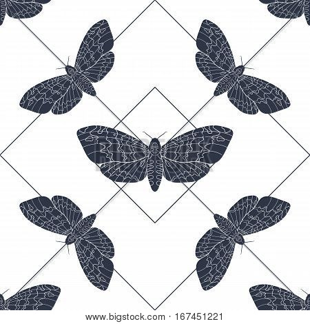 Line art dead head moths pattern. Modern vector background with lines