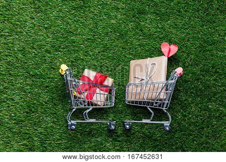 Two Self-service Supermarket Shopping Trolley Carts With Gift Box On Spring Or Summer Green Grass La