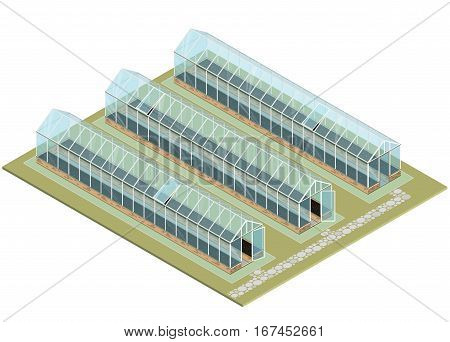 Isometric greenhouse with glass walls, foundations, gable roof, garden bed. Mass farm for growing plants. Vector horticultural conservatory for vegetables and flowers. Greenhouse cultivate gardening.