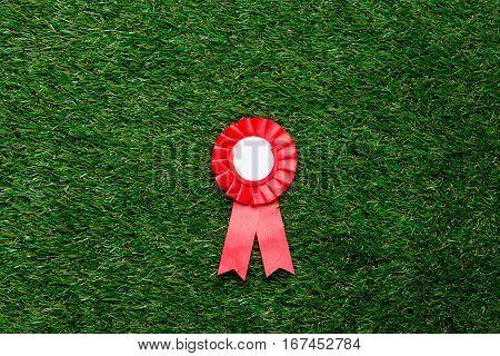Little Red Winner Award On Green Summer Grass Lawn