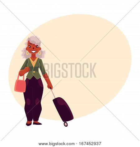 Old, senior African American woman with suitcase and handbag, cartoon illustration on background with place for text. Full length portrait of beautiful old black lady with luggage, suitcase in airport